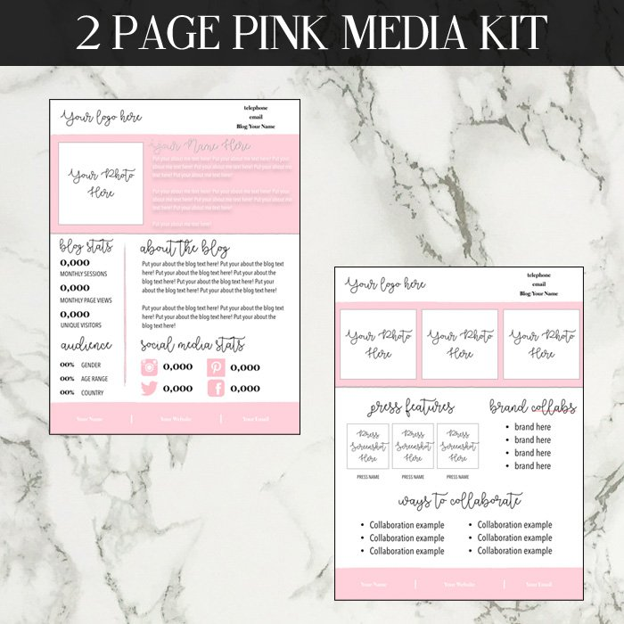 pink media kit template. Black Bedroom Furniture Sets. Home Design Ideas