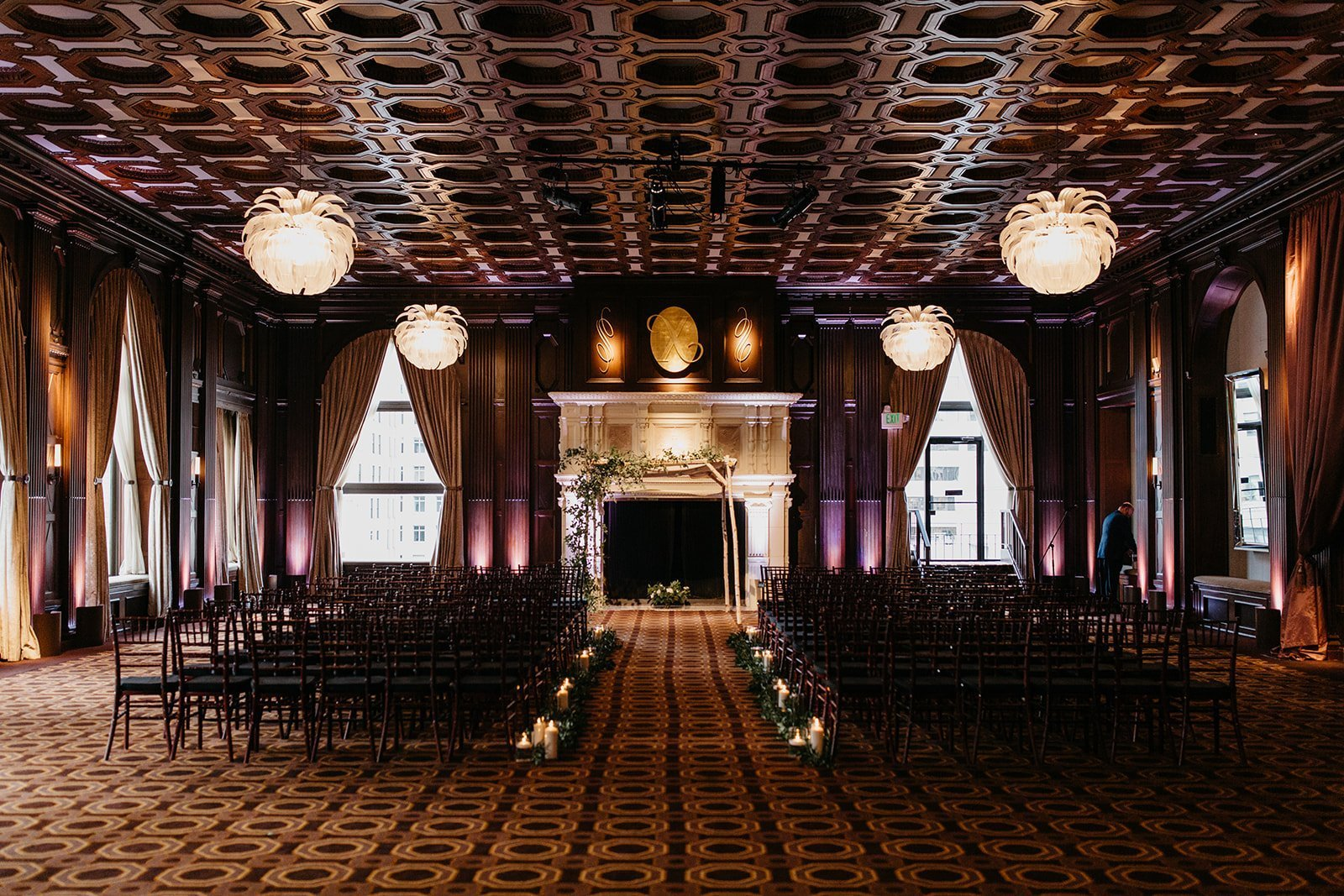 A black and white wedding inspiration. This Russian wedding was held at the Julia Morgan Ballroom in San Francisco. Ballroom wedding inspiration, black and white wedding theme, black wedding decorations.