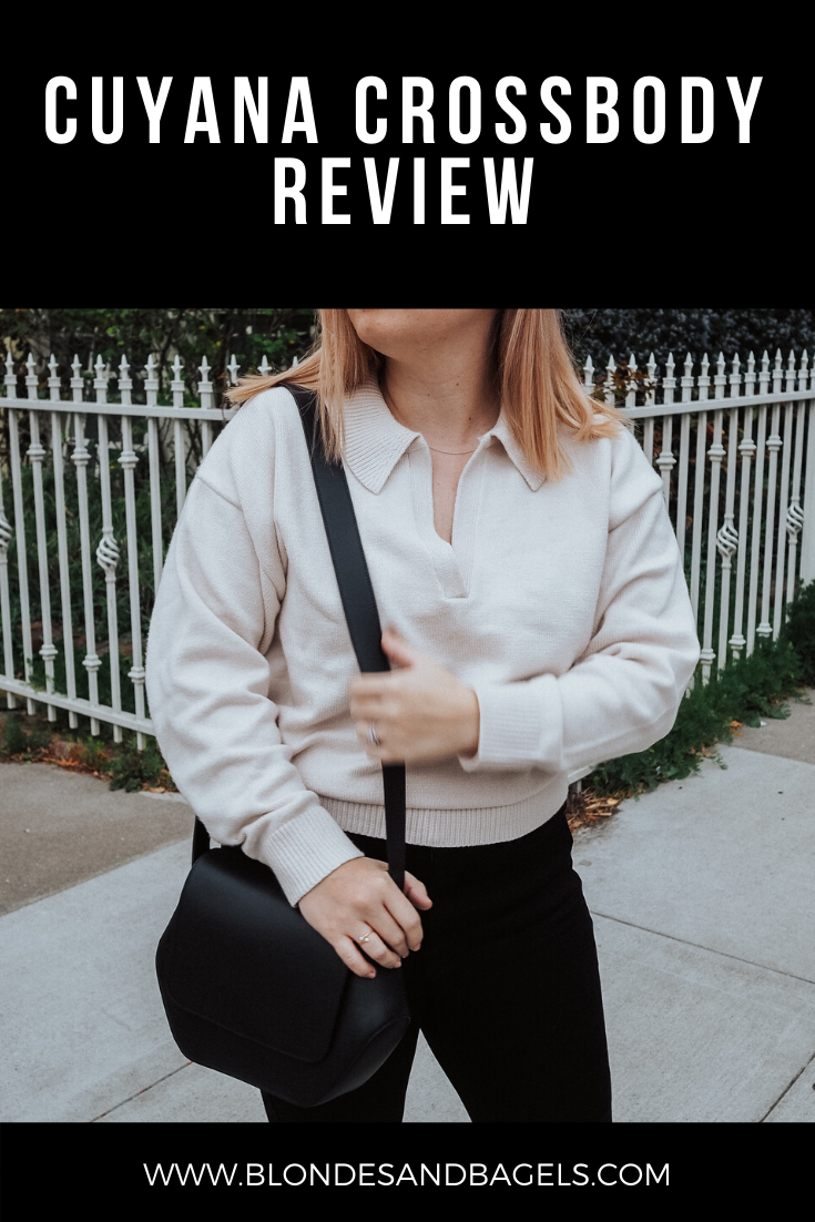 Lifestyle blogger Kelsey from Blondes & Bagels gives a thorough review of Cuyana's new crossbody bag: The Cuyana Hexagon Crossbody. Read the pros & cons!