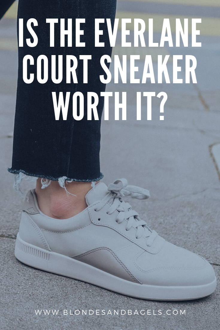 Lifestyle blogger Kelsey from Blondes & Bagels gives a full Everlane Court Sneaker Review. Learn more about the Everlane Court Sneaker in this post!